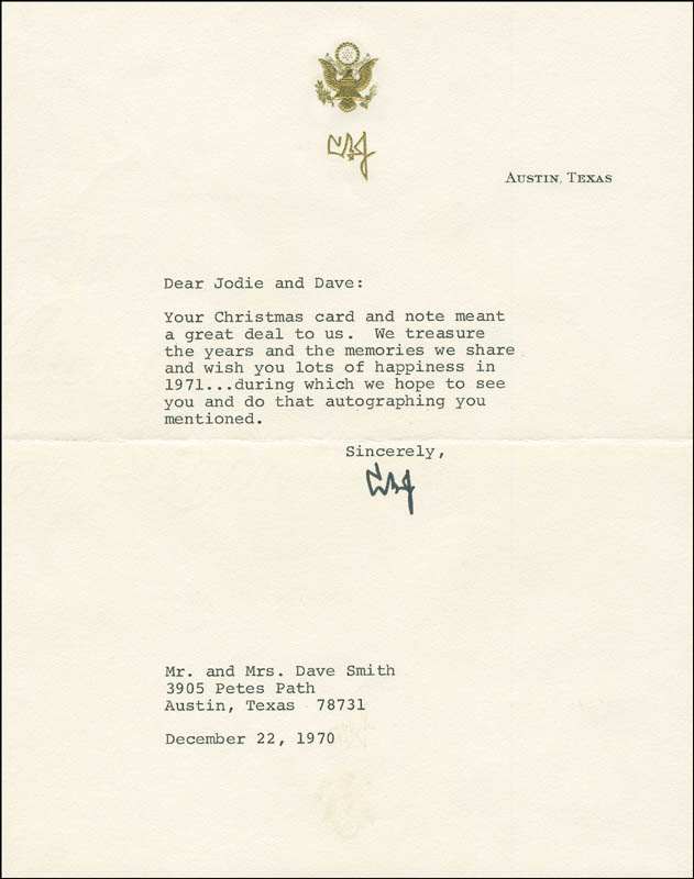 Image 1 for President Lyndon B. Johnson - Typed Letter Signed 12/22/1970 - HFSID 295813