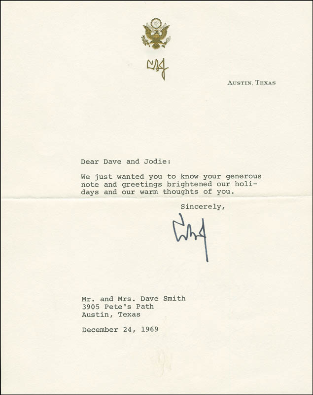 Image 1 for President Lyndon B. Johnson - Typed Letter Signed 12/24/1969 - HFSID 295814