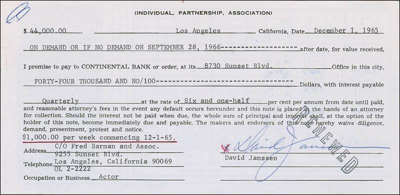 Image 1 for David Janssen - Promissory Note Signed 12/01/1965 - HFSID 295821
