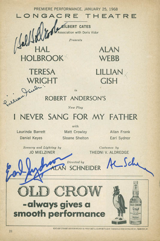 Image 1 for I Never Sang For My Father Play Cast - Show Bill Signed co-signed by: Hal Holbrook, Lillian Gish, Alan Schneider, Earl Sydnor - HFSID 295913