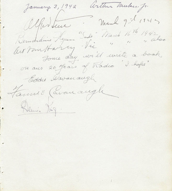 Image 1 for Alfred Lunt - Autograph 03/09/1942 with co-signers - HFSID 29594