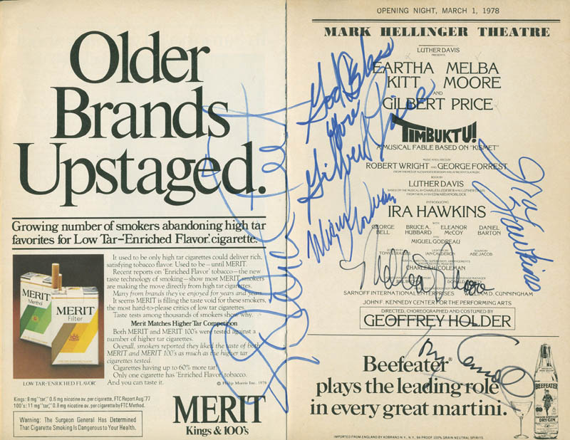 Image 1 for Timbuktu! Play Cast - Show Bill Signed co-signed by: Melba Moore, Eartha Kitt, Gilbert Price, Miguel Godreau, Ira Hawkins, Tony Carroll - HFSID 295943