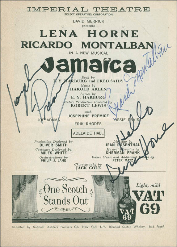 Image 1 for Jamaica Broadway Cast - Show Bill Signed co-signed by: Lena Horne, Ricardo Montalban, Josephine Premice - HFSID 295948