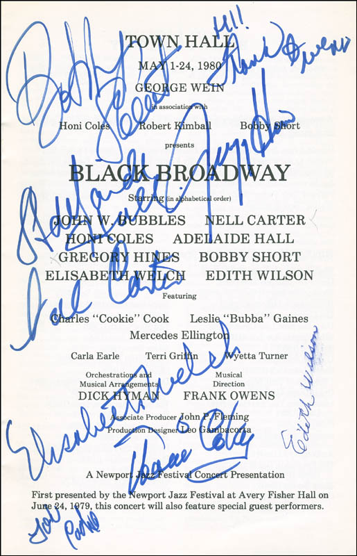 Image 1 for Black Broadway Play Cast - Show Bill Signed with co-signers - HFSID 295954