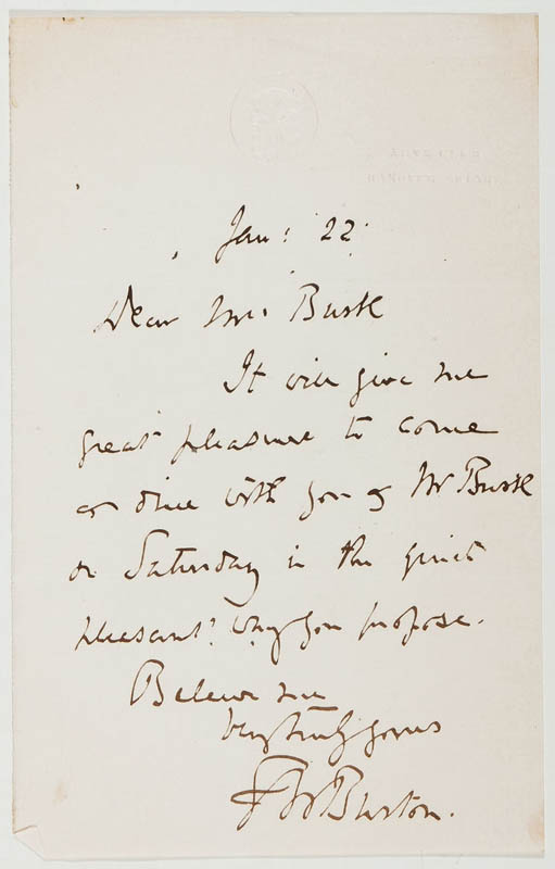 Image 1 for Sir Frederick W. Burton - Autograph Letter Signed 01/22 - HFSID 295978