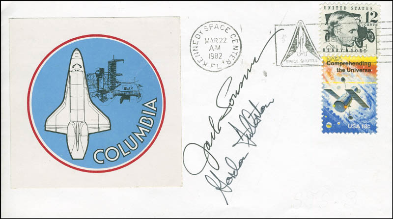Image 1 for Space Shuttle Columbia - Sts - 3 Crew - Commemorative Envelope Signed co-signed by: Colonel Jack Lousma, Colonel C. Gordon Fullerton - HFSID 296004