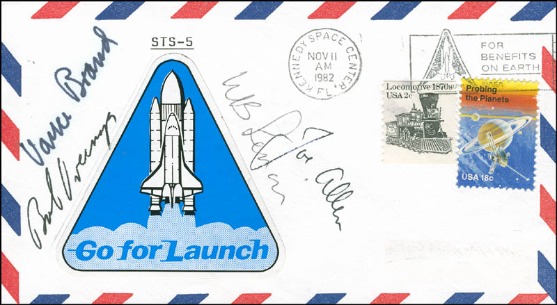 Image 1 for Space Shuttle Columbia - Sts - 5 Crew - Commemorative Envelope Signed with co-signers - HFSID 296008