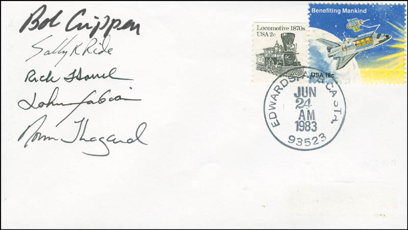 Image 1 for Space Shuttle Challenger - Sts - 7 Crew - Commemorative Envelope Signed with co-signers - HFSID 296012