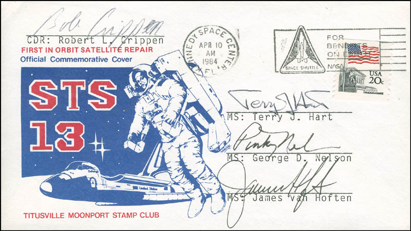Image 1 for Space Shuttle Challenger - Sts - 41c Crew - Commemorative Envelope Signed with co-signers - HFSID 296017