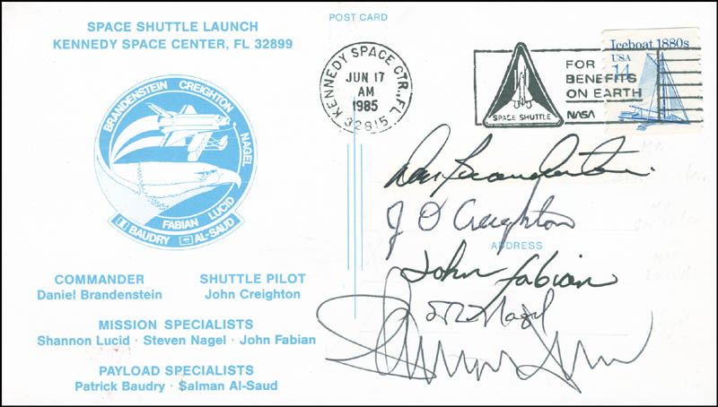 Image 1 for Space Shuttle Discovery - Sts - 51g Crew - Commemorative Envelope Signed with co-signers - HFSID 296024