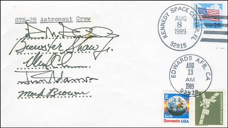 Image 1 for Space Shuttle Columbia - Sts - 28 Crew - Commemorative Envelope Signed with co-signers - HFSID 296027