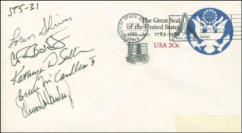 Image 1 for Space Shuttle Discovery - Sts - 31 Crew - Commemorative Envelope Signed with co-signers - HFSID 296028