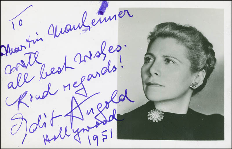 Image 1 for Edit Angold - Autograph Note On Photograph Signed 1951 - HFSID 296125