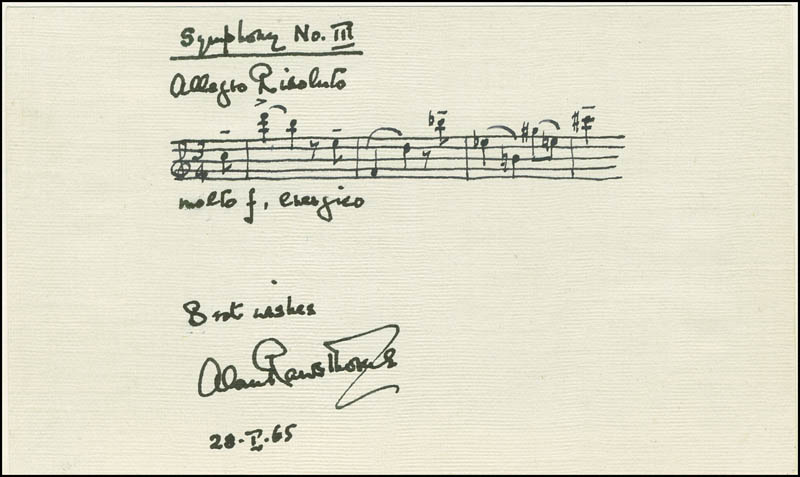 Image 1 for Alan Rawsthorne - Autograph Musical Quotation Signed 01/28/1965 - HFSID 296159