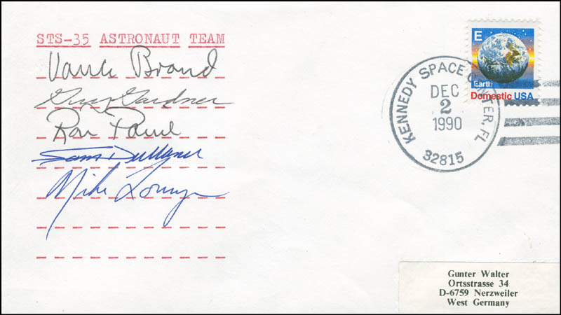 Image 1 for Space Shuttle Columbia - Sts - 35 Crew - Commemorative Envelope Signed with co-signers - HFSID 296168
