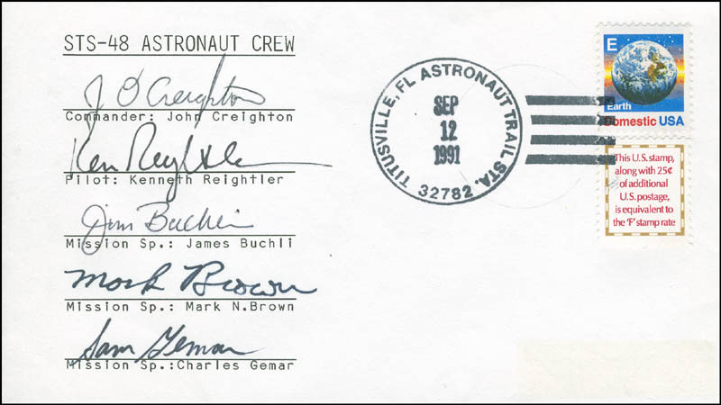 Image 1 for Space Shuttle Discovery - Sts - 48 Crew - Commemorative Envelope Signed with co-signers - HFSID 296170
