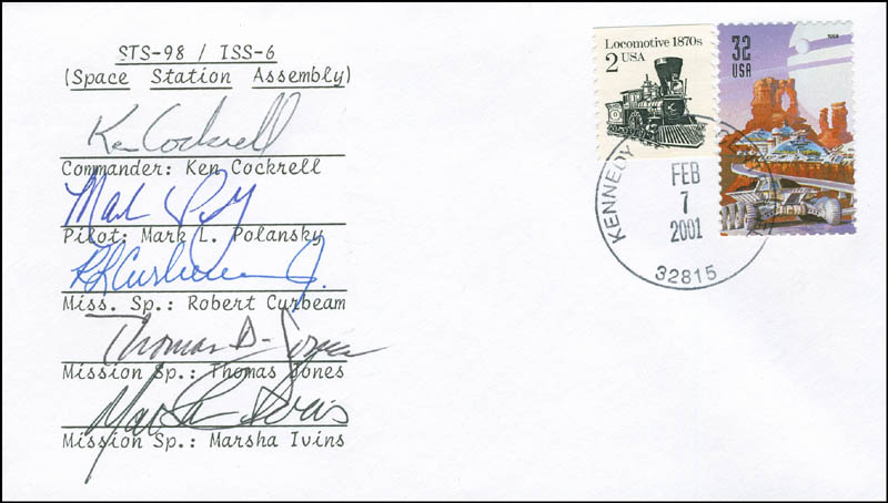Image 1 for Space Shuttle Atlantis - Sts - 98 Crew - Commemorative Envelope Signed with co-signers - HFSID 296176