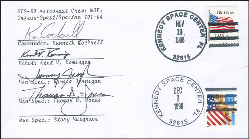 Image 1 for Space Shuttle Columbia - Sts - 80 Crew - Commemorative Envelope Signed with co-signers - HFSID 296182