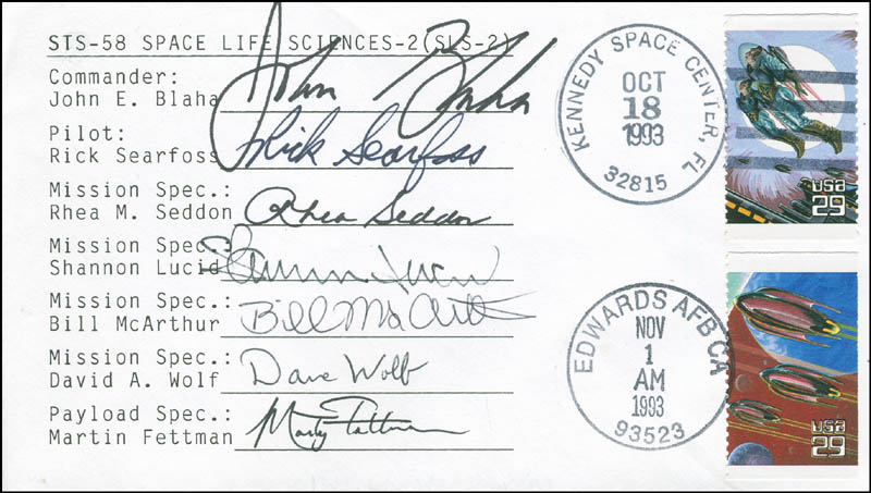 Image 1 for Space Shuttle Columbia - Sts - 58 Crew - Commemorative Envelope Signed with co-signers - HFSID 296205