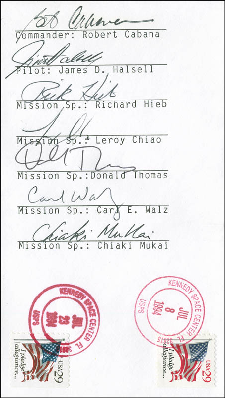 Image 1 for Space Shuttle Columbia - Sts - 65 Crew - Commemorative Envelope Signed with co-signers - HFSID 296206