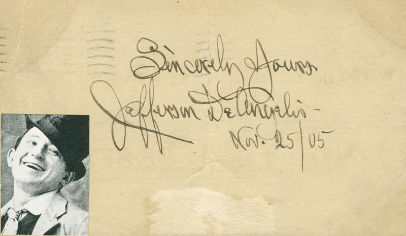 Image 1 for Jefferson Deangelis - Autographed Signed Poster 11/25/1905 - HFSID 296261