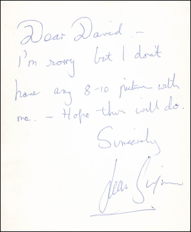 Image 1 for Jean Simmons - Autograph Note Signed - HFSID 296294