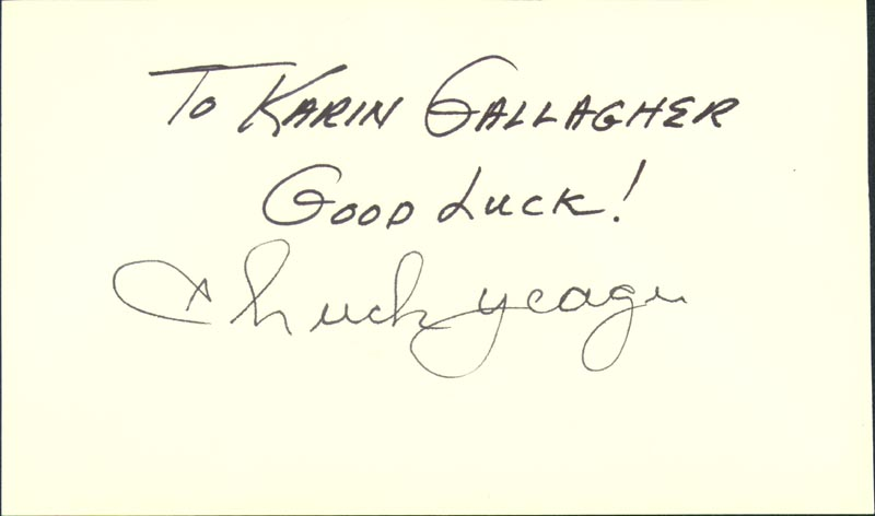Image 1 for Brigadier General Chuck Yeager - Autograph Note Signed - HFSID 29636