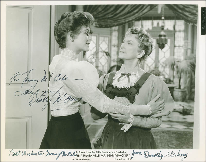 Image 1 for The Remarkable Mr. Pennypacker Movie Cast - Autographed Inscribed Photograph co-signed by: Dorothy Stickney, Dorothy Mcguire - HFSID 296429