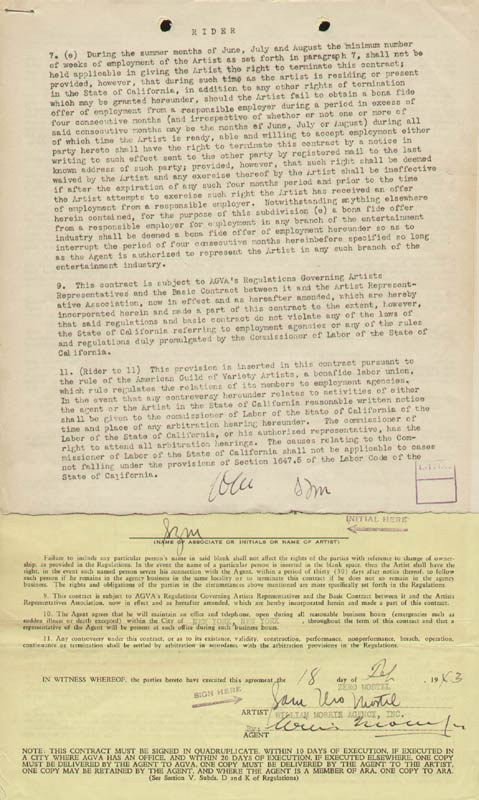 Image 1 for Zero Mostel - Contract Multi-signed 02/18/1943 - HFSID 296489