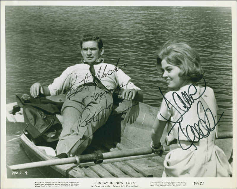 Image 1 for Sunday In New York Movie Cast - Inscribed Printed Photograph Signed In Ink co-signed by: Rod Taylor, Jane Fonda - HFSID 296501