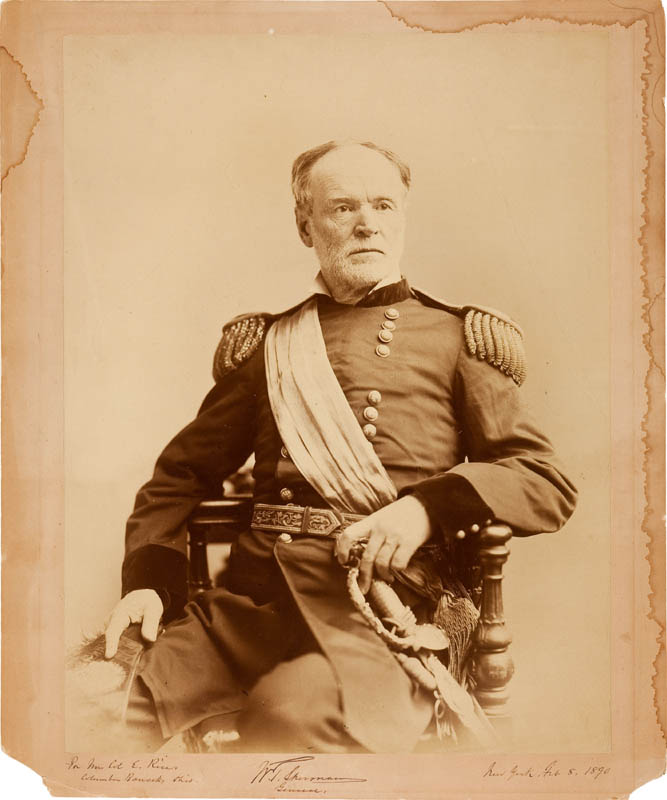 Image 1 for General William T. Sherman - Autographed Inscribed Photograph 02/08/1890 - HFSID 296569