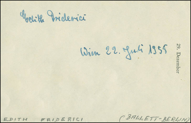 Image 1 for Edith Friderici - Autograph 07/22/1958 co-signed by: Michael Egner - HFSID 296586
