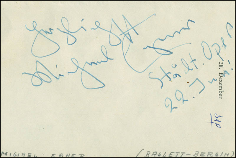 Image 3 for Edith Friderici - Autograph 07/22/1958 co-signed by: Michael Egner - HFSID 296586