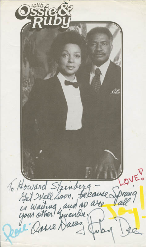 Image 1 for Ossie Davis - Inscribed Printed Photograph Signed In Ink co-signed by: Ruby Dee - HFSID 296612
