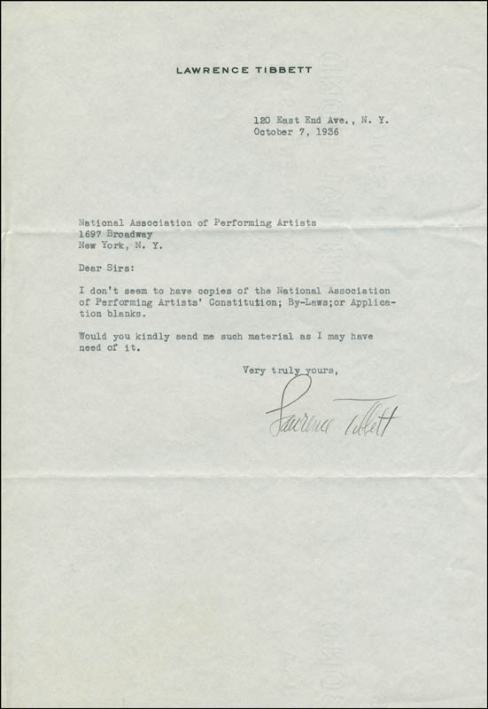 Image 1 for Lawrence Tibbett - Typed Letter Signed 10/07/1936 - HFSID 296641
