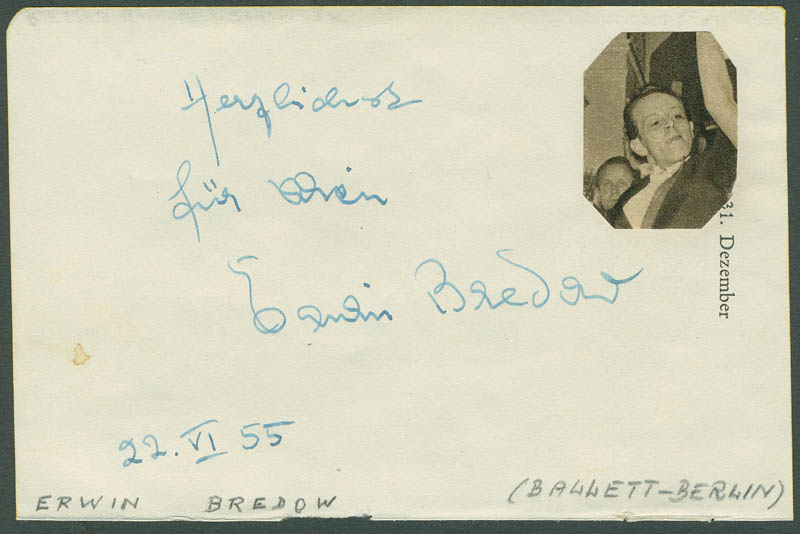 Image 1 for Erwin Bredow - Autograph Note Signed 06/22/1955 co-signed by: Hella Troester - HFSID 296655