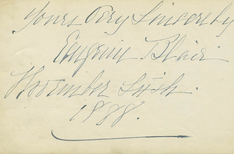 Image 3 for Stuart Robson - Autograph Sentiment Signed 1891 co-signed by: Eugenie Blair - HFSID 296781