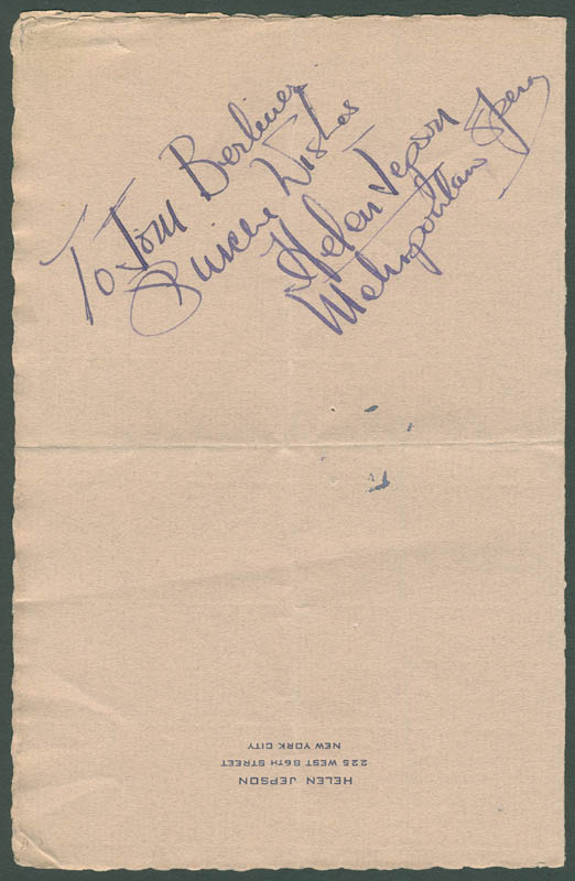 Image 1 for Helen Jepson - Autograph Note Signed - HFSID 296840