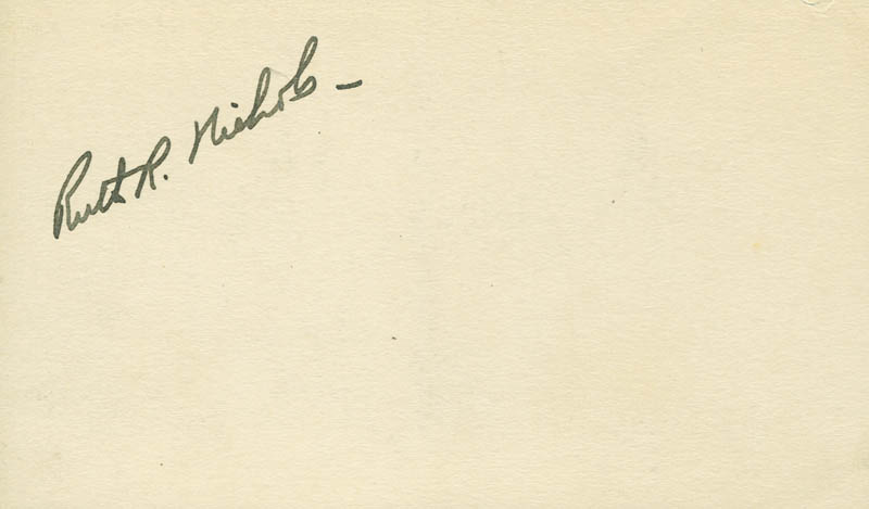 Image 1 for Ruth Rowland Nichols - Autograph - HFSID 296855