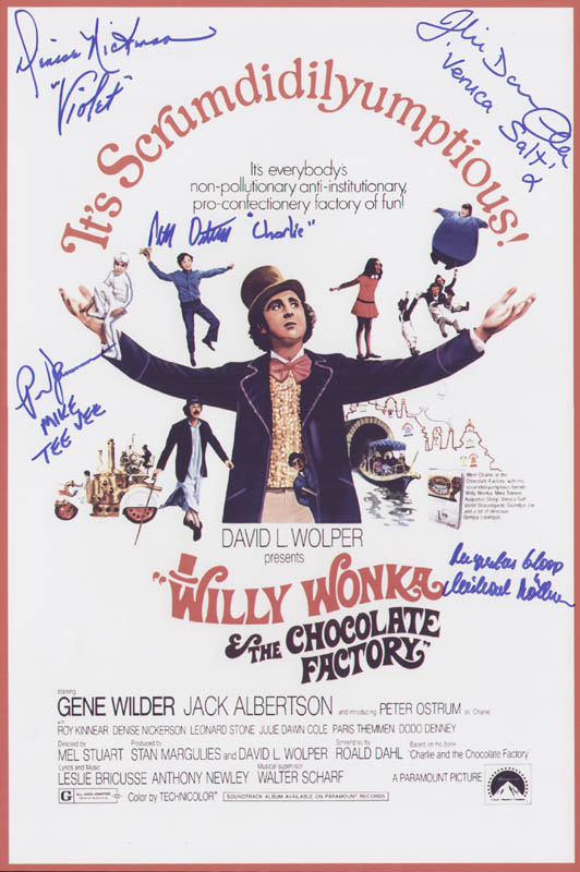 Image 1 for Willy Wonka & The Chocolate Factory Movie Cast - Advertisement Signed with co-signers - HFSID 297021