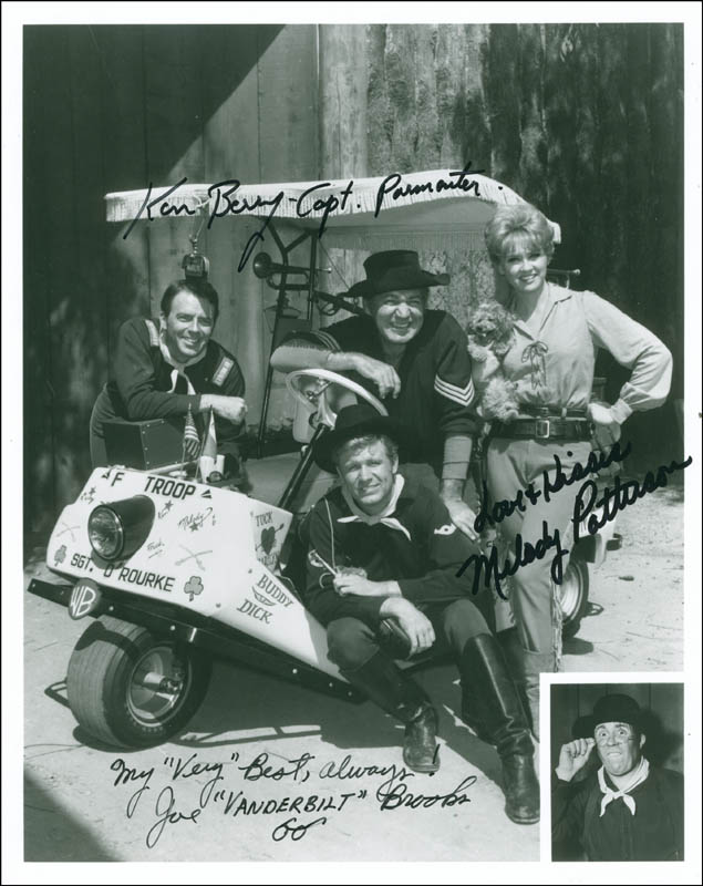 Image 1 for F Troop TV Cast - Autographed Signed Photograph co-signed by: Melody Patterson, Ken Berry, Joe Brooks - HFSID 297028