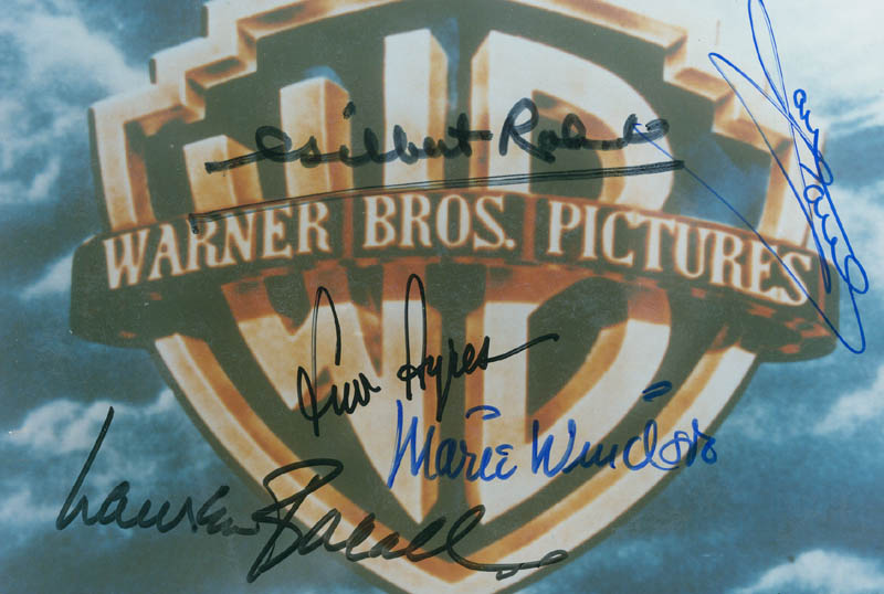 Image 1 for Warner Brothers Pictures - Autographed Signed Photograph co-signed by: Marie Windsor, Lauren Bacall, Jane Powell, Gilbert Roland, Lew Ayres - HFSID 297038
