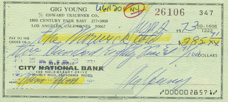 Image 1 for Gig Young - Autographed Signed Check 06/02/1973 - HFSID 297097