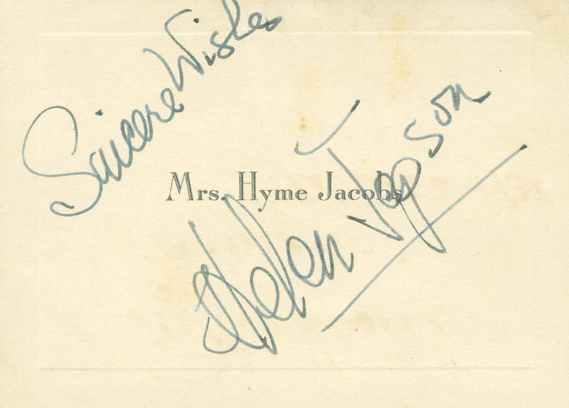 Image 1 for Helen Jepson - Autograph Sentiment On Calling Card Signed - HFSID 297148