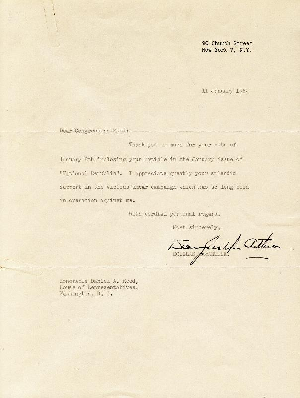 Image 1 for General Douglas Macarthur - Typed Letter Signed 01/11/1952 - HFSID 29718