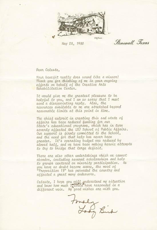 Image 1 for First Lady Lady Bird Johnson - Typed Letter Signed 05/28/1980 - HFSID 297281