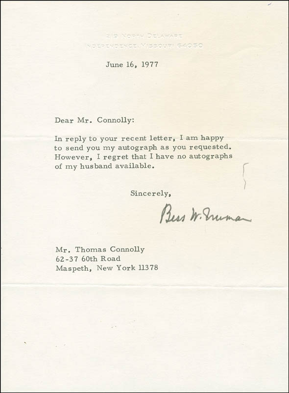 Image 1 for First Lady Bess W. Truman - Typed Letter Signed 06/16/1977 - HFSID 297289