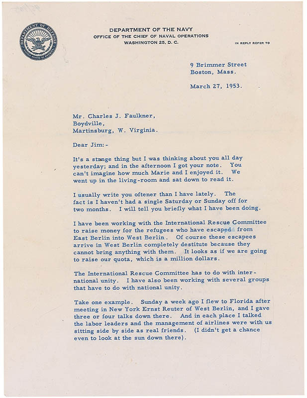 Image 1 for Rear Admiral Richard E. Byrd - Typed Letter Signed 03/27/1953 - HFSID 297291