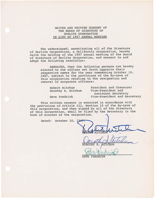 Image 1 for Robert Mitchum - Document Signed 10/10/1967 co-signed by: Dorothy (Mrs. Robert Mitchum) Mitchum, Reva Frederick - HFSID 297322