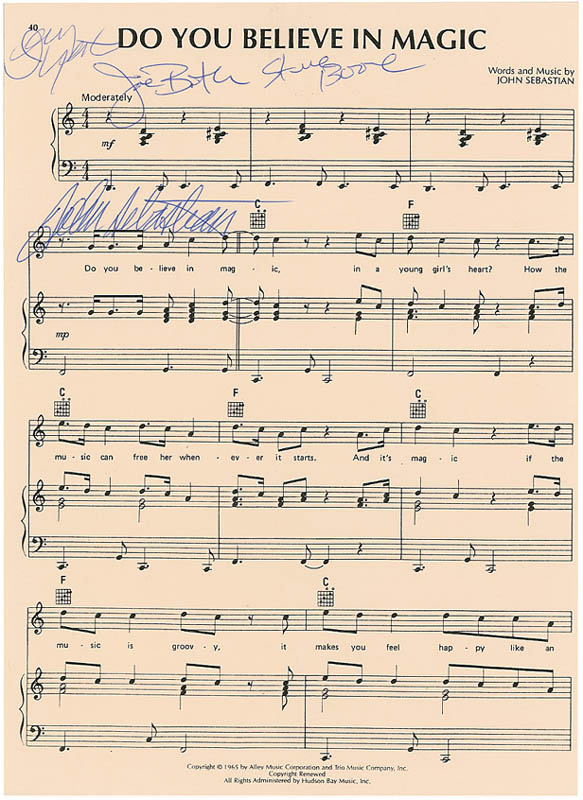 Image 1 for Lovin' Spoonful - Sheet Music Signed with co-signers - HFSID 297339